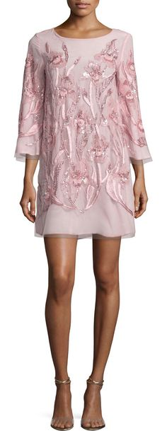 3/4-Sleeve Beaded Floral Cocktail Dress by Marchesa Notte. Marchesa Notte mini cocktail dress with floral beading. Sheer trim at cuffs and hem. Round neckline; keyhole back. Th...