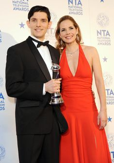 Darcy Bussell and Colin Morgan Photos Photos - Colin Morgan and Darcy Bussell pose in the Winners room at the National Television Awards at 02 Arena on January 2013 in London, England. Girls Ask, Bradley James, Actor Picture, Colin Morgan, Nice Dresses, Formal Dresses, Award Winner, Best Actor, Merlin