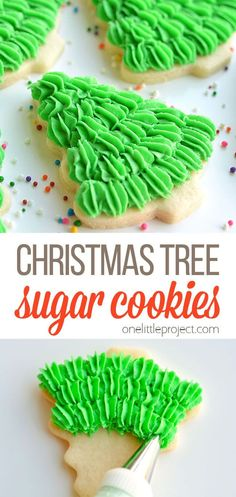 This sugar cookie recipe makes perfect, fool proof cookies which are perfect for decorating! This is such a fun and easy way to decorate Christmas cookies, and they turn out beautifully! They have such a gorgeous fir tree texture! And best of all, you can be a complete piping newbie (like me) to make them! Sugar Cookies Recipe, Cookie Recipes, Dessert Recipes, Desserts, How To Make Christmas Tree, Gel Food Coloring, Fir Tree, Christmas Recipes, Christmas Cookies
