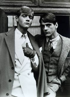 """Anthony Andrews & Jeremy Irons (from Brideshead Revisited, 1981). """"We cherish our friends not for their ability to amuse us, but for ours to amuse them. - Evelyn Waugh"""""""