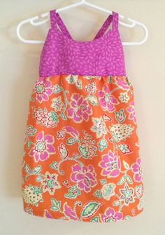 Pink and Orange Hawaiian Dress , Hawaiian Baby Dress , Pink and Orange Sundress , Floral Baby Dress