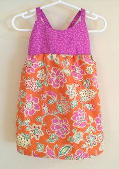 Pink and Orange Hawaiian Dress , Hawaiian Baby Dress , Pink and Orange Sundress , Floral Baby Dress