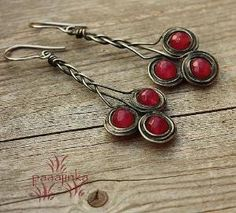 Red beaded wire earrings by kristy