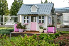 Flower Farmers play house  #kidsplay #flowerfarmer #pinkplayhouse Pink Playhouse, Herb Farm, Flower Farmer, Play Yard, Play Houses, Farmers, Kids Playing, Shed, Decor Ideas