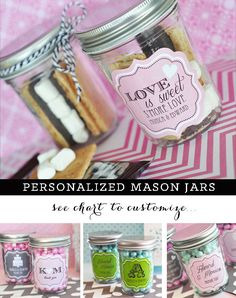 Smores Wedding Favors - Mason Jar Wedding Favors - DIY Smores Bar Supplies - Smore Love - Personalized Mason Jars (EB2310PW) -  set of 12