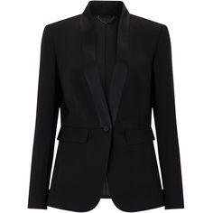 Jigsaw Guinevere Wool Tuxedo Jacket (11.675 RUB) via Polyvore featuring outerwear, jackets, blazers, black, clearance, one button tuxedo, tuxedo jacket, stretch blazer, wool jacket и dinner jacket