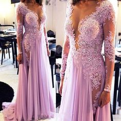 New Side Split Long Sleeve Prom Dresses 2016 Crystals Lace Appliques Sheer Scoop…