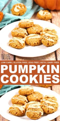 Dairy Free Gluten Free Pumpkin Cookies without Eggs - Low Carb Video Recipes - Keto Recipes Gluten Free Pumpkin Cookies, Dairy Free Cookies, Dairy Free Eggs, Keto Cookies, Egg Free Recipes, Low Carb Recipes, Baking Recipes, Dairy Free Thanksgiving Recipes, Gluten Free Recipes Without Eggs