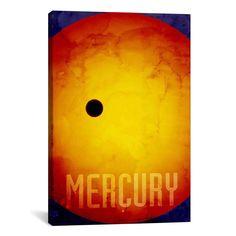 iCanvas Michael Thompsett The Planet Mercury Canvas Print Wall Art