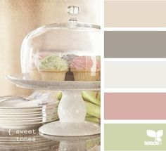 celadon, light green, dusky pink, off-white, brown taupe, beige, vanillas