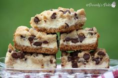 (link) Chocolate Chip Cookie Dough Cheesecake Bars ~ Cookie Dough, Cheesecake & Graham Cracker Crust ~ all the tastebud delight you'll ever need! ~ HINT: visit site not only for this recipe but check out the other recipes you'll find there too.