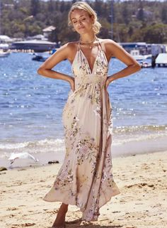 Bohemian V Neck Sleeveless Backless Floral Printed Maxi Dress