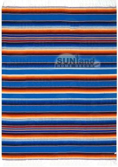 Mexican Serape Blanket - 5ft x 7ft - Blue Rainbow. $24.95