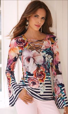 A bountiful floral bouquet mingles with stripes to create a head-turning lightweight knit top with a sexy lace-up tie front neckline and flare sleeves. Sexy Outfits, Casual Outfits, Fashion Outfits, Womens Fashion, Cute Outfits, Floral Stripe, Floral Tops, Stripe Top, Blouse Styles