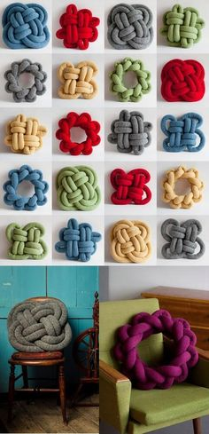 Rope Crafts, Yarn Crafts, Crafts To Make, Sewing Crafts, Diy Crafts, Sewing Projects, Hand Knit Blanket, Knitted Blankets, How To Make Pillows