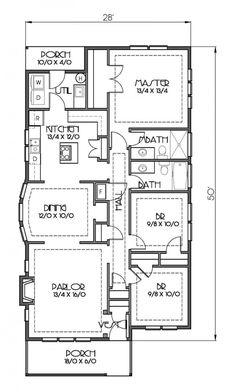 Plano de Casa de una planta, tres dormitorios y 127 metros cuadrados