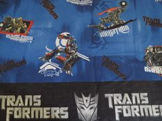 Transformers Twin flat sheet with pillow case. It is 60% cotton, and 40% polyester. The color is great. There is a stain on the Optimus Prime side of