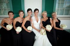 Bridesmaids in classic black + ivory flowers. Southern wedding, Carnton Plantation. Photo by Krista Lee