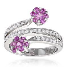 Luxurman 14k Gold 2/5ct TDW Diamond and Topaz Flower Ring