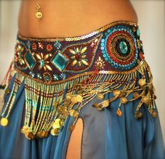 Perfectly Beautiful Belly Dance belt beaded sequined por PoisonBabe
