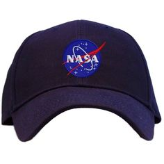 Nasa Meatball Insignia Embroidered Baseball Cap Navy (€11) ❤ liked on Polyvore featuring accessories, hats, headwear, navy baseball hat, embroidery hats, navy blue baseball hat, navy blue hat and bucket hats
