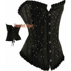 Black satin corset with rhinestones. Sparkly.  www.discreettiger.com.au