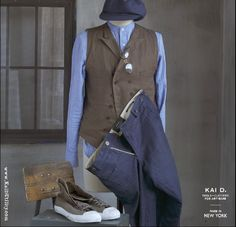 Nash banded collar shirt, Buchanon linen vest, Jefferson pant, and paperboy hat. #KaiD www.KaiDUtility.com