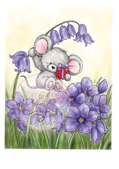 Wild Rose Studio - Mouse on Bluebell - bjl