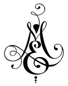 Modèle de tatouage calligraphique deux lettres ME | Natcalli