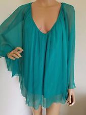 CATHERINE MALANDRINO 100% SILK tunic blouse 8 cape style loose hippie boho top
