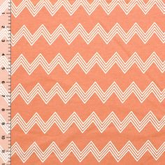 Sherbet Orange Linear Chevron Cotton Interlock Knit Fabric