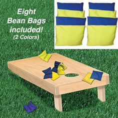 "Bean Bag Toss Set DIY Woodcraft Pattern Set #2281-S - The original Corn Toss. Regulation size. Build two. The next best thing to horse shoes or lawn jarts. Great for all kinds of parties. Store in your car trunk for an occasional game virtually anywhere! Legs fold in for flat storage. 48""D x 24""W. Eight Bean Bags (2 colors)(#P-143) included in set. Pattern by Sherwood Creations #woodworking #woodcrafts #pattern #crafts #game #cornhole"