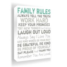 Family Rules Wall Art in Green.