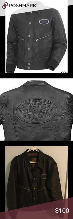 Victory Motorcycle Leather Bomber Jacket, Men's M It doesn't get any classier than this. Leather jacket celebrates the birth of the all-American Victory motorcycle. Has valanced snaps (in the shape of Victory's original gas cap) and embossed tank-badge logo across the back.  Thick, full grain leather lined with silky-smooth polyester with random drawings of engine parts.   Side-entry lined pockets have snap closure with zippered top-load pocket behind. Knit cuffs and hem, full zipper front…