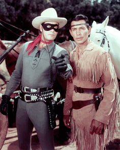 Clayton Moore and Jay Silverheels as the Lone Ranger and Tonto