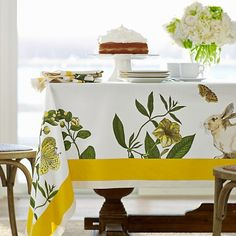 Green and yellow rabbit botanical print tablecloth