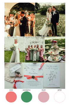 In this post you will find inspiration for a coral, eucalyptus and blush wedding concept. Wedding Colors coral and eucalyptus with a hint of blush. Eucalyptus Wedding, Wedding Colors, Wedding Planning, Blush, Coral, Concept, Events, Grill D Menu, Red Wedding