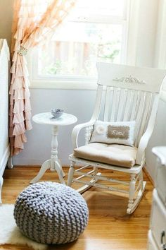 Love This Distressed Rocking Chair And Pillow. Such A Sweet Vintage/shabby  Chic Nursery!