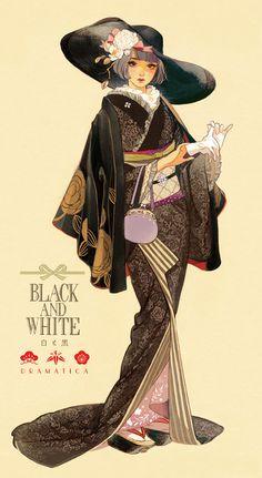 Black and White Dramatica Japan Illustration, Character Illustration, Anime Art Girl, Manga Art, Anime Manga, Anime Kimono, Character Inspiration, Character Art, Poses References