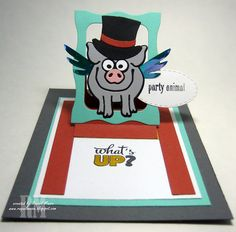 Virgil the Pig Hanging Charm Pull Tab style card featuring the new Steampunk Charms from Karen Burniston's Pop It Ups collection.