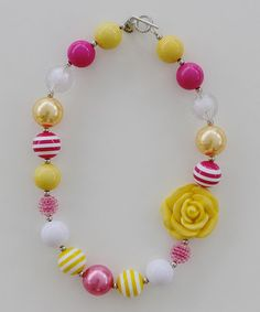 Hot Pink & Yellow Bead Necklace #zulily #zulilyfinds