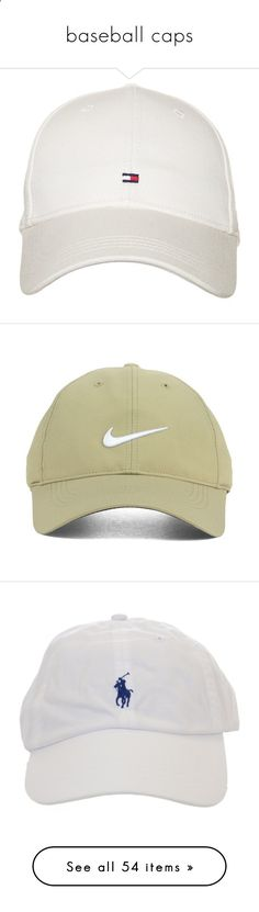 baseball caps by jazziearmstrong ❤ liked on Polyvore featuring accessories, hats, tommy hilfiger cap, tommy hilfiger, white hat, caps hats, tommy hilfiger hats, headwear, nike golf and nike golf cap