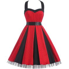 GRACE KARIN Women 50s Dress Halter Vintage Dresses CL6075 (Large,... (1.595 RUB) ❤ liked on Polyvore featuring dresses, red halter cocktail dress, vintage halter tops, halter neckline dress, red halter top and red cocktail dress