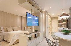 101 Studio Apartment Decorating Design Ideas For Spacious Space home design Bedroom Tv Stand, Tv In Bedroom, Bedroom Decor, Bedroom Small, Bedrooms, Design Apartment, Studio Apartment Decorating, Apartment Living, White Studio Apartment