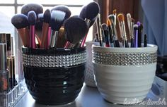 Handmade makeup brush holders. I am going to try this! :D