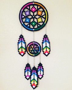 Rainbow Dreamcatcher by PerlerNerdCrafts on Etsy