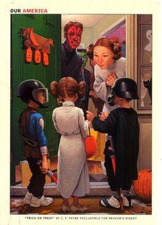 "Reader's Digest back cover, October 2005  Illustration: ""Trick or Treat"" byC.F. Payne"