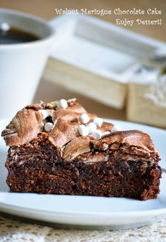 Chocolate Meringue, Meringue Cake, Chocolate Cake, Romanian Desserts, Chocolate Dreams, Marshmallow, Sweet Treats, Ice Cream, Sweets