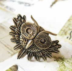 Vintage big eyes owl ring