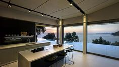 kitchen with glass wall - Google Search